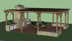 An Outdoor Kitchen Built Under a Pergola