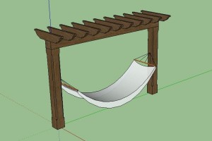 A Hammock Supported by a small Pergola